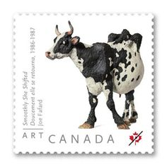 One of Joe Fafard's cow sculptures is featured on a postage stamp.