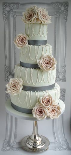 """Pearls and roses wedding cake ~ all edible ~ Excellent! Smaller version for the bridal shower, and light teal """"ribbon"""" coral flowers"""