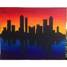 Skyline Silhouette at Sunset Acrylic Canvas Painting ❤ liked on Polyvore featuring home, home decor, wall art, motivational paintings, motivational wall art, cityscape paintings, sunset wall art and acrylic painting