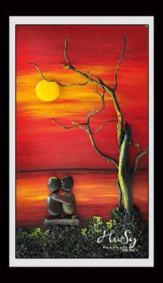 Güneşin batışını seyreden sevg