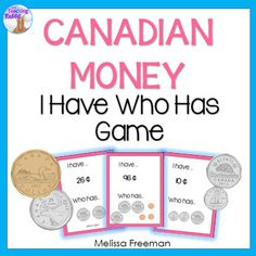 """This """"I Have Who Has"""" game is a part of my Canadian Money Unit for Grade It is a fun way to practice counting Canadian coins! Contains 24 cards.For a math center using iPads, you may like Canadian Money Task Cards Using QR Codes Money Activities, Money Games, Piano Practice Chart, Canadian Coins, 1st Grade Math, Grade 2, Daily Math, Math Work, Too Cool For School"""