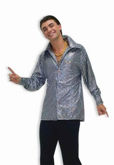 Hustlin Hunk Disco Costume Shirt - This is a funky disco lounge shirt. This retro number is great attire for that 70's look. This has a loud black and metallic silver pattern. It has a v-neck and button up in the front, as well the cuffs button up. Wear this for Halloween or for a disco party. #yyc #costume #disco