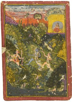 TWO ILLUSTRATIONS: A COUPLE BIDDING FAREWELL; RAMA AND LAKSHMANA HUNTING WITH HANUMAN | lot | Sotheby's