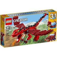 Take to the skies with the Red Creatures fire-breathing dragon! Take to the skies with the fearsome Red Creatures fire-breathing dragon! This awesome model features a classic red, tan and black color scheme, large movable wings, lo Lego Creator Sets, The Creator, Van Lego, Lego Toys, Building Blocks Toys, Fire Dragon, Cool Lego, Toys For Boys, Legos