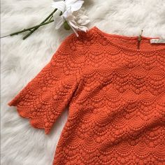 Club Monaco Orange Lace Top Never worn mint condition! Stunning lace top in a bright orange color. Very pretty for spring and summer! NO TRADES PLEASE Club Monaco Tops