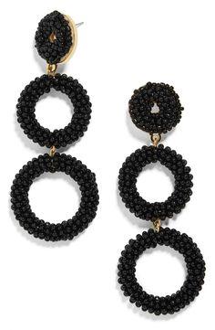 BaubleBar Capella Beaded Triple Hoop Drop Earrings available at Black Earrings, Earrings Handmade, Women's Earrings, Statement Earrings, Cute Jewelry, Beaded Jewelry, Jewelry Accessories, Diy Schmuck, Schmuck Design