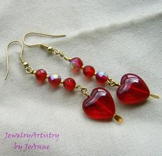 Hearts & Beads Earrings Beautiful Red Glass by by JewelryArtistry, $20.00
