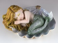 Baby mermaid asleep on clam shell figurine Height: inches Length: inches Material: Polyresin Mermaid Room, Mermaid Diy, Baby Mermaid, Mermaid Dolls, Mermaid Under The Sea, The Little Mermaid, Polymer Clay Mermaid, Beach Themed Crafts, Anime Elf