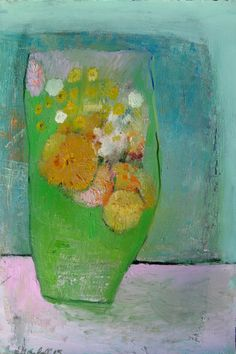 Flowers in a green vase  original oil painting on by BrookeWandall