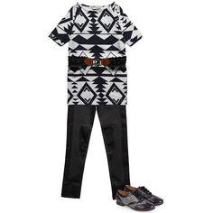 Girls Navy Blue & White Aztec Print Tunic Dress & Belt 2 Piece Set - Dresses - Girl | Childrensalon