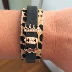 Love this Design!Leopard cuff, black leather keeper, with MOM, double hearts and crown charms!