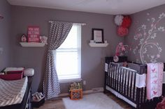 Love the pink and grey combo with pattern on wall