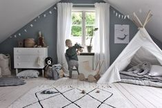 As the cold months descend, we've been embracing the Danish concept of hygge in our homes. Here's how to bring hygge into your kids bedroom decor. Attic Apartment, Attic Rooms, Attic Spaces, Kid Spaces, Attic Playroom, Attic Bathroom, Attic Renovation, Attic Remodel, Toddler Rooms