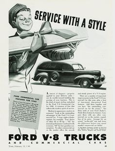 1940 advertisements | 1940 Ford Commercial Car Sedan Delivery Print Advertising
