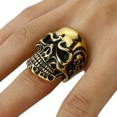 997410728a1b Feared Skull Ring Black Band Ring