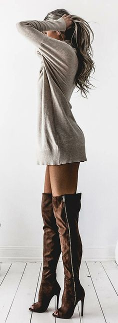 Grey Knit Dress / Brown Zipped Open Toe OTK Boots