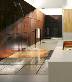 Conceptual Bathroom With Corten Steel Wall. If Only The Room Is Like A Sauna,  Hate A Cold Bathroom After A Shower