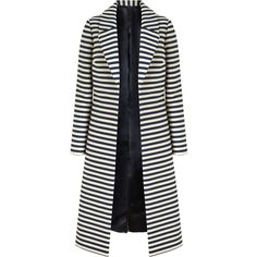 Bruce by Bruce Oldfield Long Stripe Coat, Navy/White ($130) ❤ liked on Polyvore featuring outerwear, coats, jackets, coats & jackets, long sleeve coat, stripe coat, navy blue coat, cotton coat and long white coat