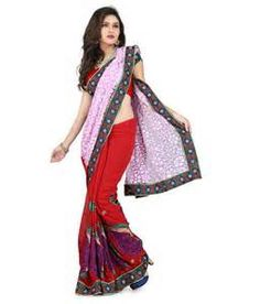 Biba Fashion Red Faux Georgette Kutch Embroidered Saree With Blouse ...