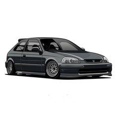 Civic Jdm, Honda Civic Hatchback, Honda Civic Type R, Jdm Cars, Slammed Cars, Ek Hatch, Car Animation, Street Racing Cars, Sports Car Wallpaper