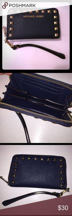 Michael Kors wristlet (wallet) Navy blue Michael Kors leather wristlet/wallet with gold studs and gold zipper Michael Kors Bags Clutches & Wristlets