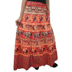 Mogulinterior Womens Long Wrap Skirt Hand Block Print Cotton Sarong Wrap Around Skirt Dress