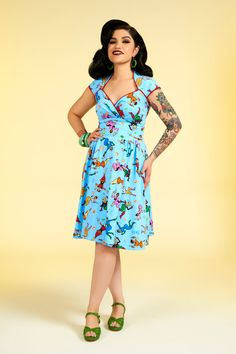 Pinup Couture Luscious Dress in Space Babes Print | Retro Style Swing Dress | Pinup Girl Clothing