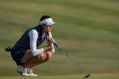 Paula Hurtado wearing our white compression top with navy and blue polka dot polo. Hurtado is one of the most exciting female golfers Levante Lebeche sponsors, this was taken on her way to gaining her Ladies European Tour Card for 2013. Well Done!!!!