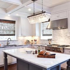Clarissa Crystal Drop Extra-Long Rectangular Chandelier with Gray Kitchen Island