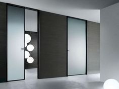 There are basically two types of barn door hardware. The first is a rustic, flat track sliding door system The second is a more modern roller and track style Sliding Door Design, Modern Sliding Doors, Sliding Closet Doors, Sliding Glass Door, Glass Doors, Sliding Windows, Bedroom Door Design, Door Design Interior, Bedroom Doors