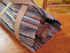 Wood Log Tote, Hand Woven Wool, Pumpkin, Gray, Tan, Wood Carrier, Cabin, Cottage Fireplace, Farmhouse Hearth, Winter Home Decor