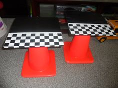 Night stands for a car theme room... traffic cones, plywood, black paint, and white contact paper... #cars