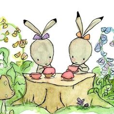 The Bunny Tea Party   13X19 Nursery Print by trafalgarssquare, $36.00