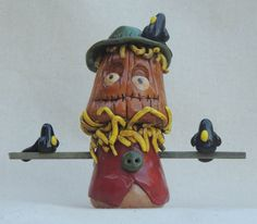 Halloween Clay Scarecrow and Crows by ArtCFartCStudios on Etsy, $27.00