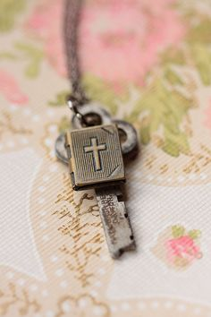 Christian Necklace Cross Locket With Vintage Key Vintage Keys, Vintage Jewelry, Preachers Wife, Oldest Bible, Purple Cross, Old Rugged Cross, Old Country Churches, Sign Of The Cross, Under Lock And Key