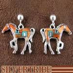 Oyster Shell Multicolor Inlay Horse Earrings Southwestern Jewelry
