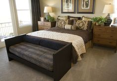 Bedroom set colored around leopard print, with different shades of brown, black, and gold.