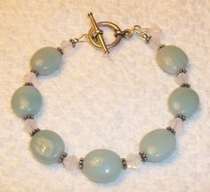 Christmas In July Sale - use coupon code July2014Sale for 30% off! Amazonite Gemstone Bracelet with Swarovski Crystal by BeBoDesigns, $20.00