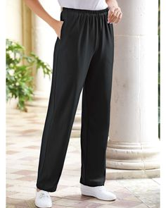 UltraSofts by National Interlock Knit Pants Made from cotton-polyester interlock fabric Pull-on elastic waist for easy-wear Versatile side-seam pockets Machine wash and dry Elastic Waist, Knit Pants, Women's Pants, Pants For Women, Clothes For Women, Pull On Pants, Easy Wear, Knitted Fabric