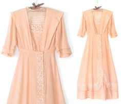Edwardian Dress  Peach Lace Walking Dress  by sparvintheieletree