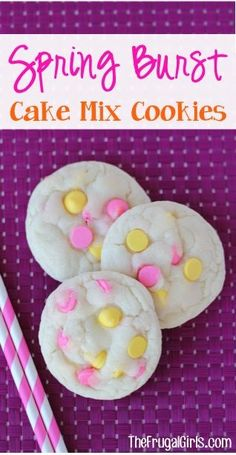 Strawberry Cake Mix Cookies by EclecticRecipes.com #recipe Made w/out jam and used choc chips instead of m's, turned out good! #cookies #cook #recipes #cake