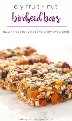 Don't get caught hangry. These easy DIY Fruit and Nut 'Birdseed' Bars are must-haves on your crazy days. (They're also healthier and far more delish than store-bought granola bars! Healthy Travel Snacks, Healthy Bars, Healthy Vegan Snacks, Vegan Breakfast Recipes, Healthy Eating, Healthy Recipes, Snack Recipes, Going Vegan, Clean Eating Snacks