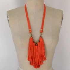 Poppy Red Leather Tassel Fringe Necklace - Ready to Ship. $188.00, via Etsy.