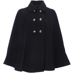 Be uber stylish this Autumn with this stunning black multistitch military cape coat.  Wear as a chic cover up for those colder nights.  Faux Wool.  Cape Shape.…