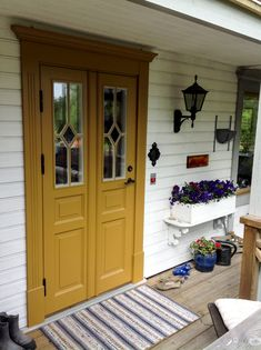 Sweden House, Front Entrances, Exterior House Colors, Front Porch, Garage Doors, Shed, New Homes, Cottage, Outdoor Structures