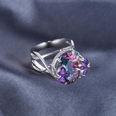 Brillant Rond Halo Améthyste Zircon Cubique Double Layered Genuine Sterling Silver Ring