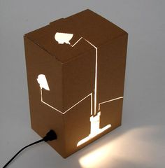 Another great modern design from Dutch design label HUH is this 'Not a Lamp' light. Instead of a lamp in a box, this box is a floor lamp (do you get it?). You push out the pre-cut shape and the wire, fitting and lamp are in the box. And voila, you have a lamp! #Concept #Diylighting #Floorlamp #Handmadelighting #Lamp #Lighting #Lightingdesign #Modernlighting #Recycle