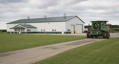 Morton Buildings farm storage facility with attached shop in Quincy, Ohio.
