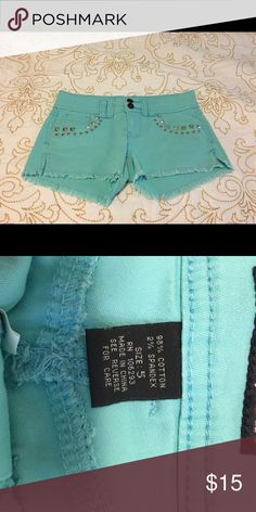 Turquoise shorts with studded detail Only been worn about 5 times Angels Shorts Jean Shorts