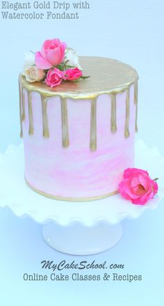Beautiful Gold Drip with Watercolor Fondant! A cake decorating video by MyCakeSchool.com.